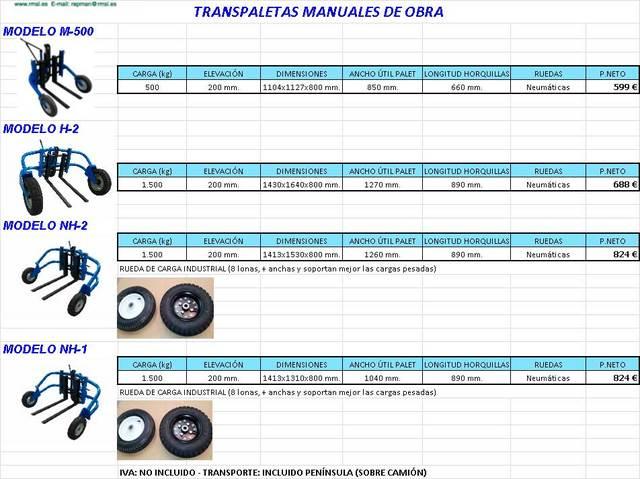 TRANSPALETA DE OBRA NUEVA DE 1. 500 KG. .  - foto 1