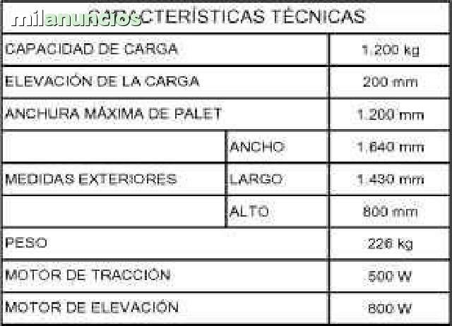 TRANSPALETA DE OBRA ELECTRICA 1, 2 TM - foto 2