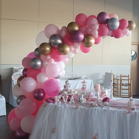 Boda Helio Globos Venue Mesa Decoraciones Impreso Blanco Pink Party Pack