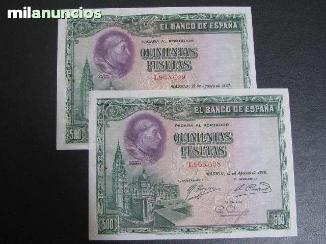 Pareja De 500 Pesetas 1928 Sin Serie  Sc