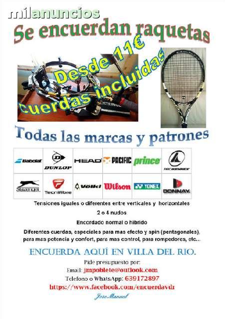 ENCUERDO RAQUETAS TODAS MARCAS Y PATRONE - foto 1