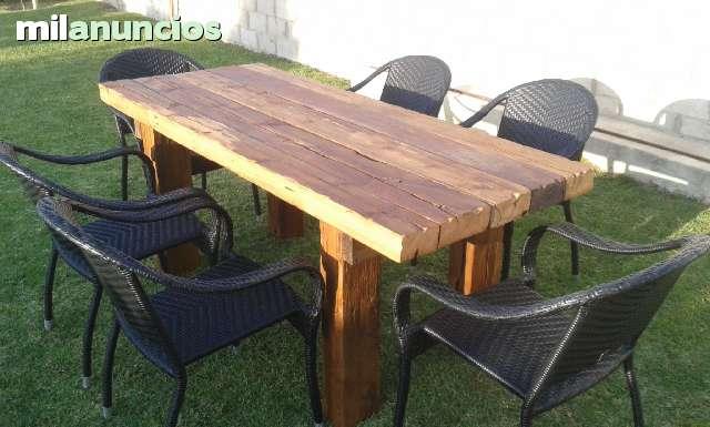 Mesa comedor rustica extensible y sillas - Sillas exterior baratas ...