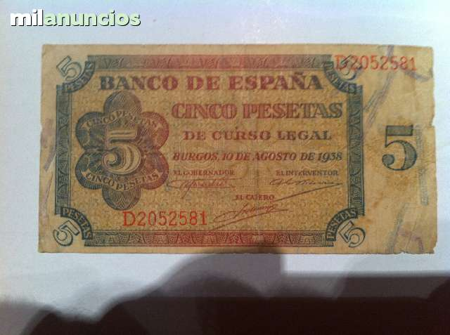 Billete  5 Pts De 1938