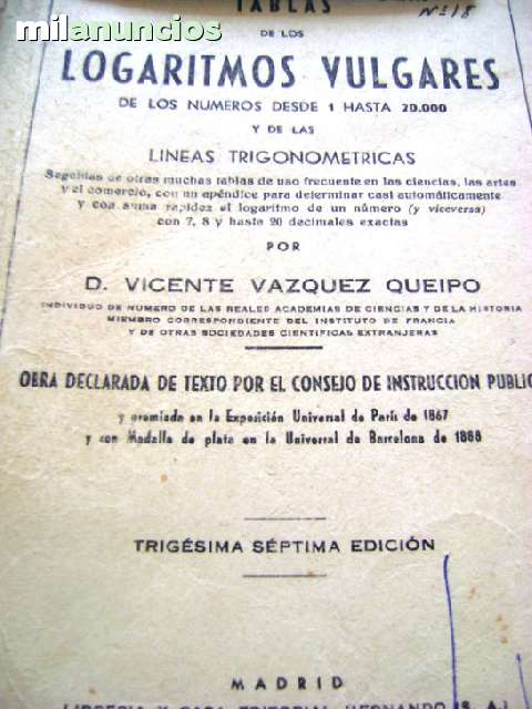 TABLAS DE LOS LOGARITMOS VULGARES 1958 T - foto 1