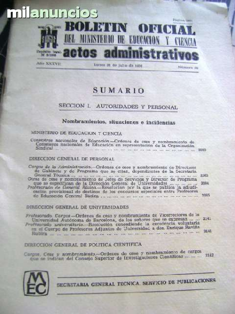 BOLETÍN OFICIAL MEC 1976 MINISTERIO EDUC - foto 1