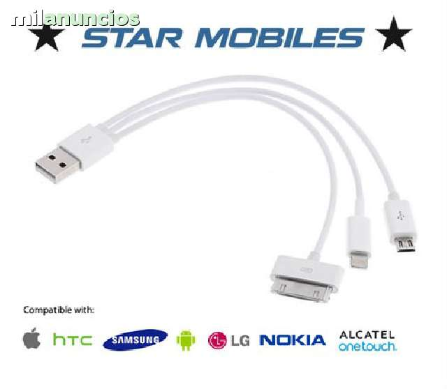 CABLE 3 EN 1 USB CARGA IPHONE MICRO USB - foto 1