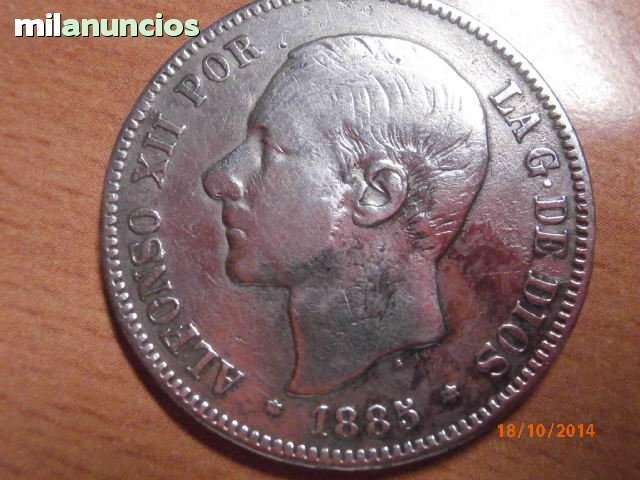 5 Pts Alfonso Xii 1885 Plata Original