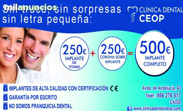 250€ IMPLANTE DENTAL+250€ CORONA =500€ - foto 1