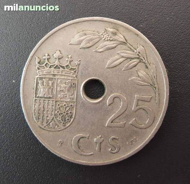 Moneda Antigua 25 Céntimos De 1937