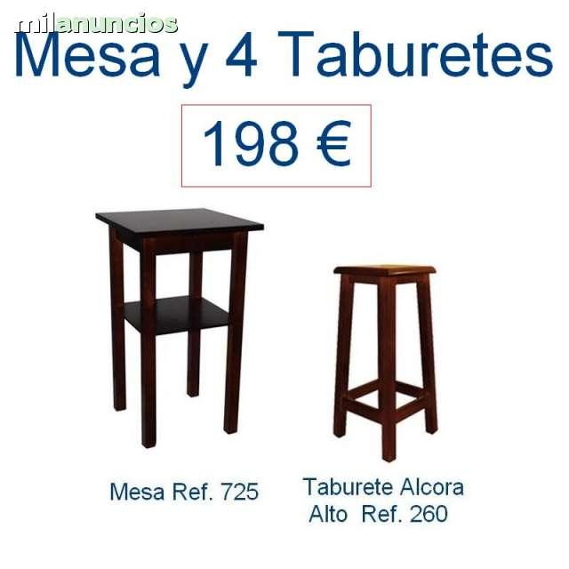 MESA ALTA Y 4 TABURETES CERVECERu00cdAS