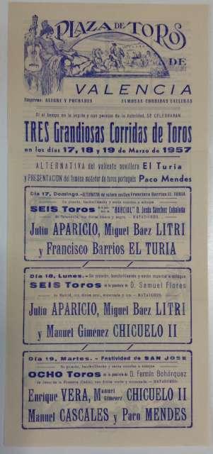 Cartel De Toros De  Fallas 1957.