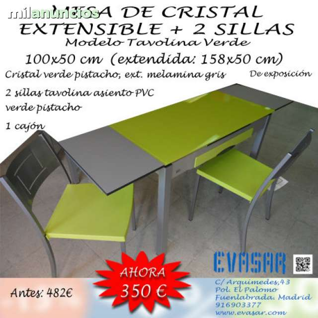 Mesas De Cocina Milanuncios.Mesa Cristal Verde Pistacho Y 2 Sillas
