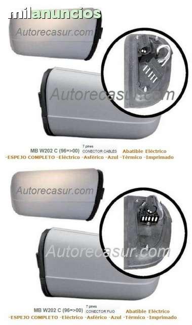 El/éctrico Asf/érico Azul T/érmico Imprimado Abatible 7 pines CONECTOR FIJO ESPEJO RETROVISOR COMPLETO Derecho MB W202 C 96=00