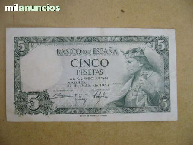 Billte Español 1954 Cinco Pesetas