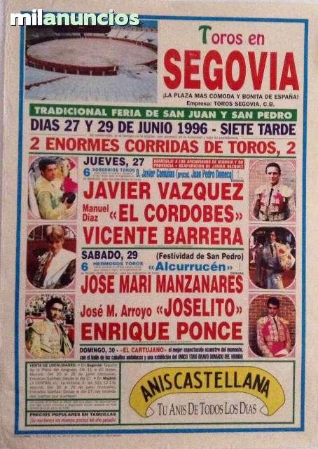 Cartel De Toros De Segovia 1996.