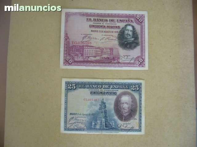 Dos Billetes Españles 25 Y 50 Pesetas
