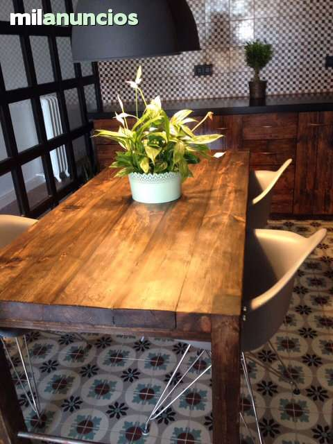 mesa estilo industrial madera maciza