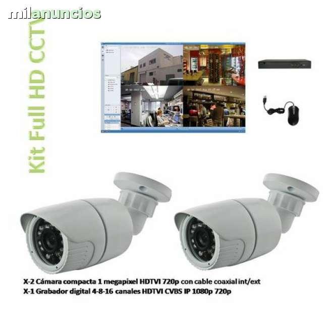 KIT 2 CÁMARAS Y GRABADOR FULL HD CCTV