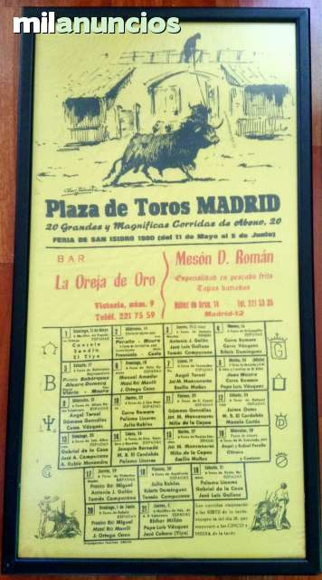 Cartel De Toros De Madrid 1980.