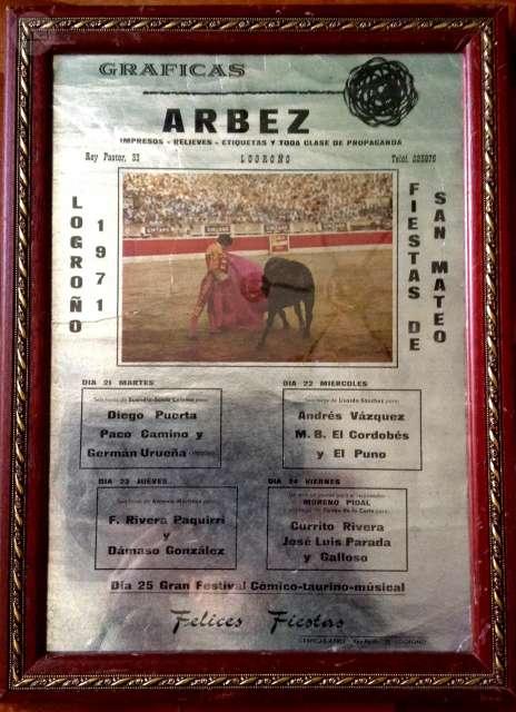 Cartel De Toros Logroño 1971.