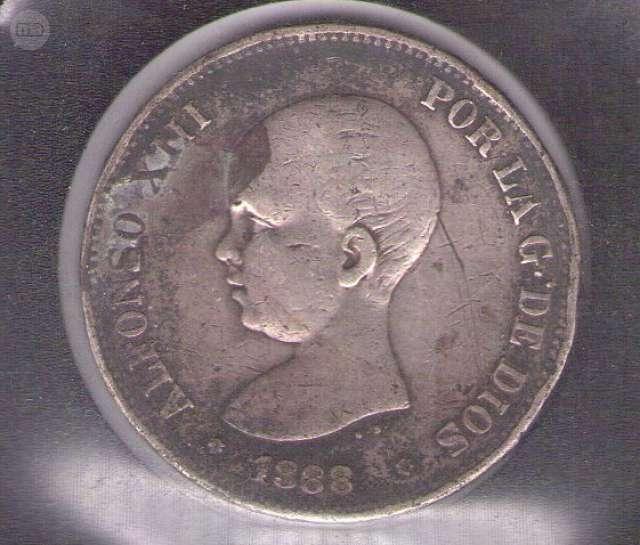 MONEDA 5 PESETAS PLATA 1888