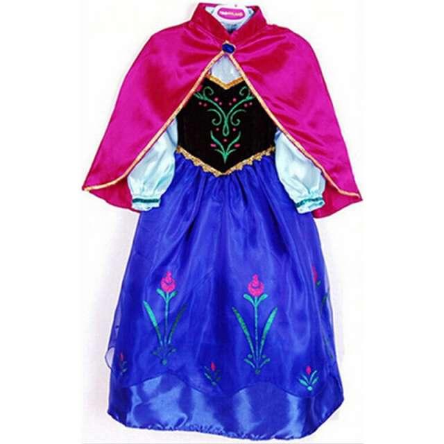 Vestido Disfraz Anna Frozen Con Capa