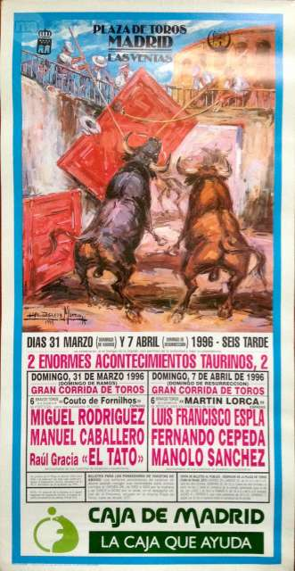 Cartel De Toros Madrid 31/3 Y7/4 De 1996