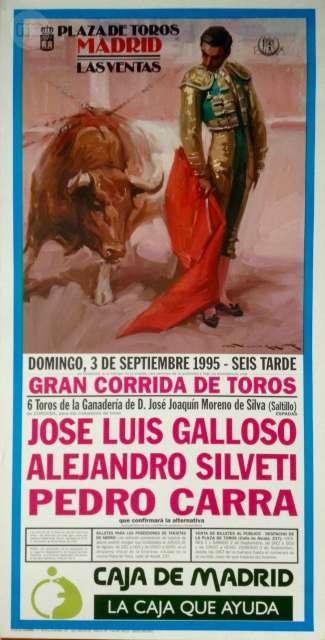 Cartel De Toros,Madrid 3 Septiembre 1995