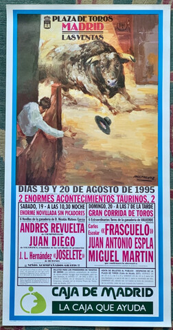 Cartel De Toros Madrid. 19 Y 20/8/ 1995.