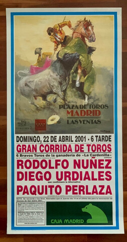 Cartel De Toros De Madrid .22/4/2001.