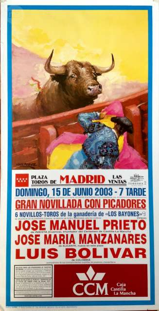Cartel De Toros De Madrid.15/6/ 2003.