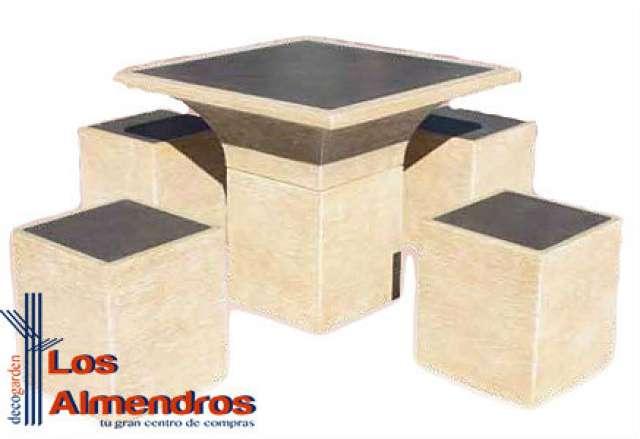 mesa jardn taburetes piedra artificial