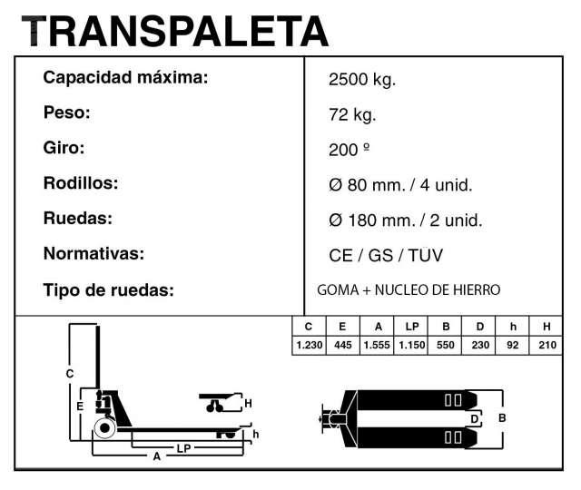 TRANSPALETA MANUAL 2500 KG - foto 4