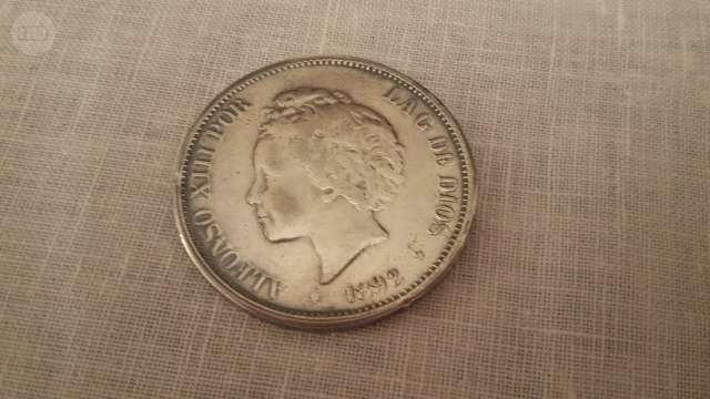 Moneda De 5 Pesetas Año 1892
