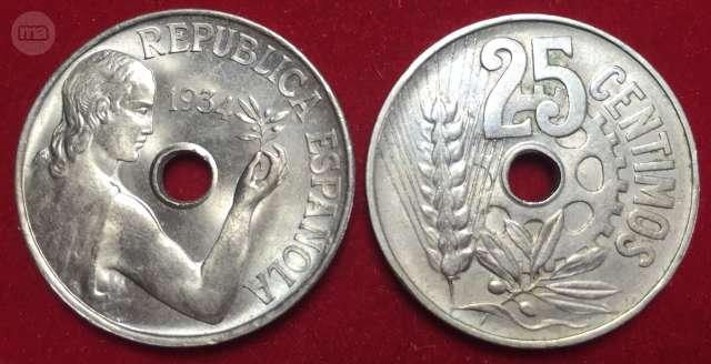 Sin Circular. 25 Céntimos 1934 República