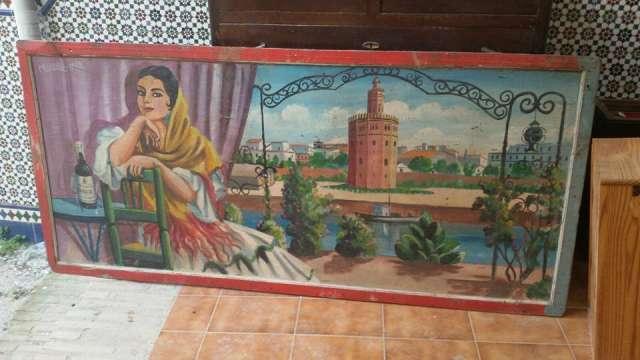 Cuadro Antiguo Publicidad De Feria Vinos