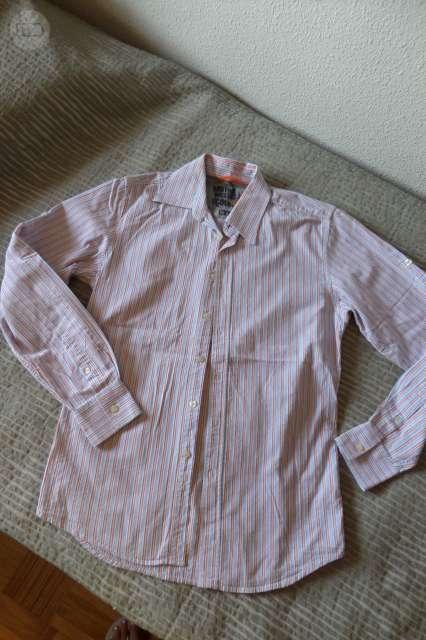 Conjunto camisa blanca 4 botones y culote brocado azul