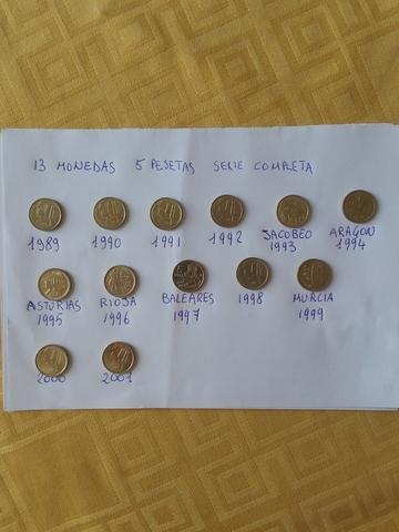 Serie Completa Monedas De 5 Pesetas