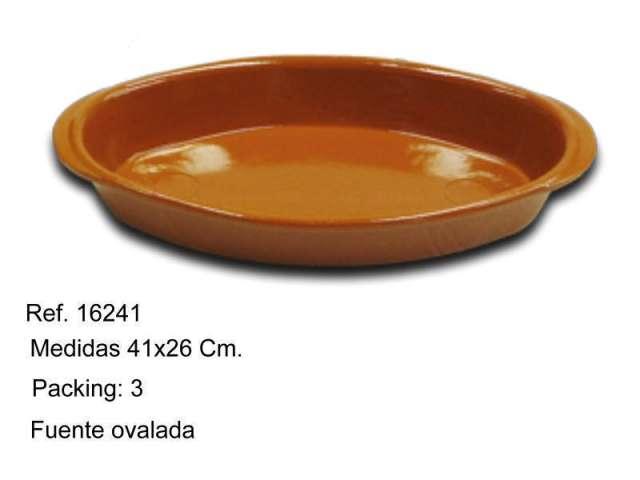 FUENTE OVALADA DE BARRO 41 CM.