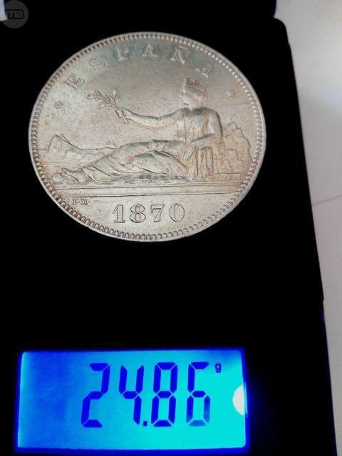 5 PESETAS 1870 EBC 24, 86 GRAMOS