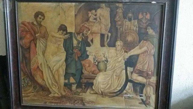Cuadro Antiguo Pintado Al Oleo