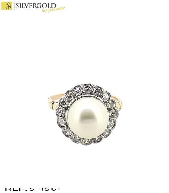 5-1561 ANILLO ORO BICOLOR 18KT DIAMANTES