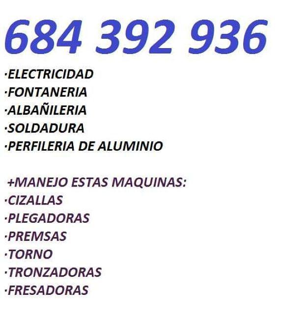 ELECTRICISTA FONTANERO ALBAÑIL SOLDADOR