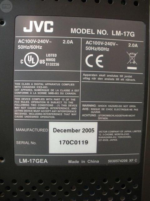 MONITOR LCD MARCA JVC MODELO  LM-17G - foto 3