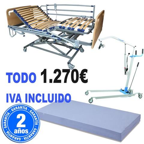 CAMA HOSPITAL GRÚA HIDRAULICA 135 KG.
