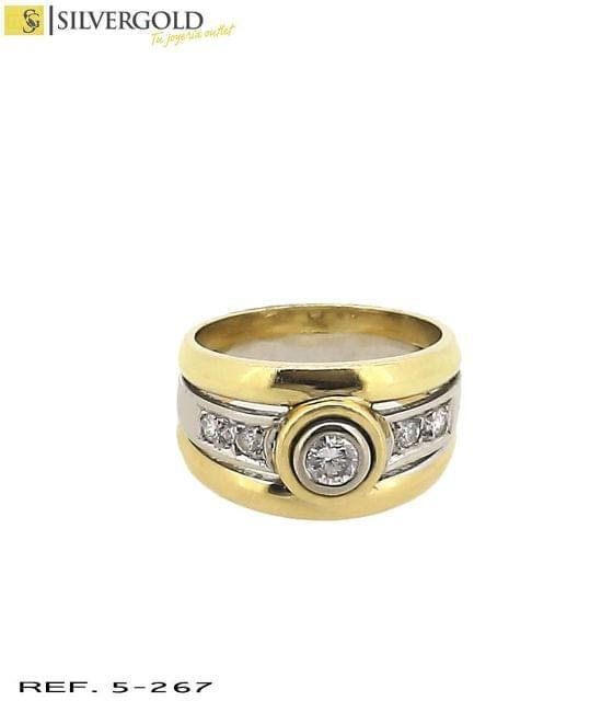 5-267 ANILLO ORO 18KT. BICOLOR DIAMANTES