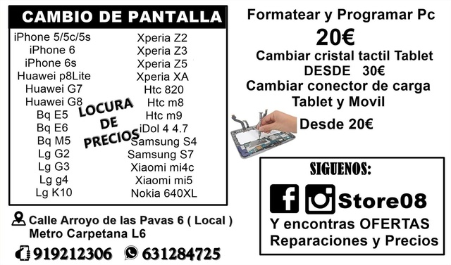 OFERTA CAMBIAR PANTALLA IPHONE 4, 5, 6S, 7