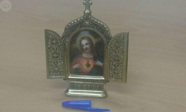 Triptico En Bronce De Corazon De Jesus C