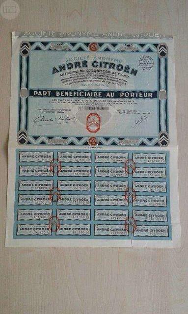 Acciones Andre Citroen De 1927