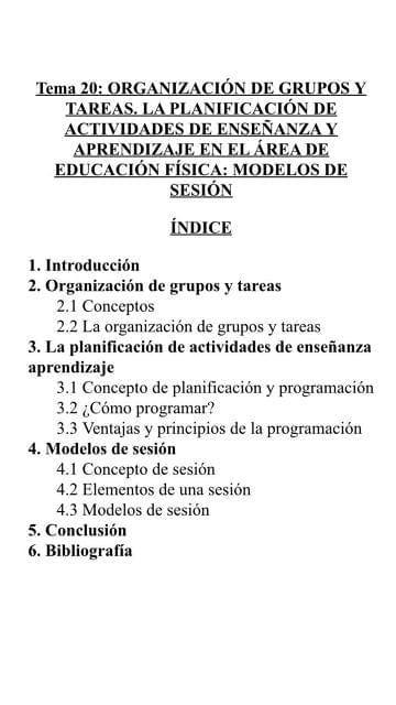 TEMARIO EDUCACIÓN FÍSICA